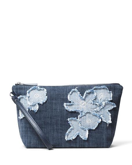 Floral Denim Medium Pouch Bag, Indigo