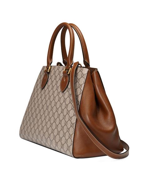 GG Supreme Top-Handle Tote Bag, Beige/Brown