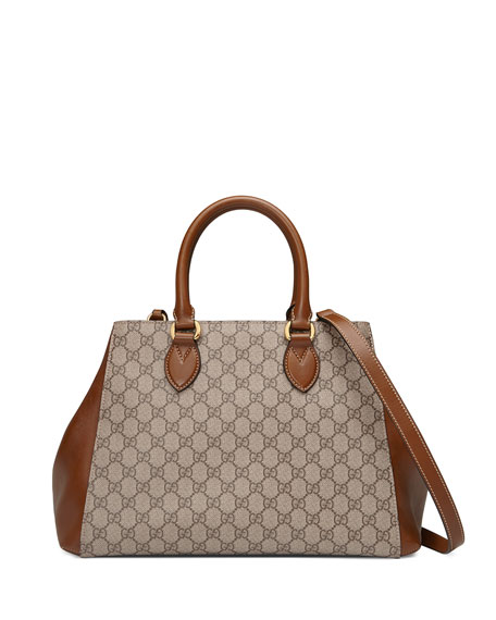 Gucci GG Supreme Top-Handle Tote Bag, Beige/Brown
