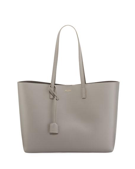 Saint Laurent Large East-West Leather Shopper Bag, Black
