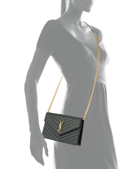 Monogram Chevron Quilted Shoulder Bag, Black