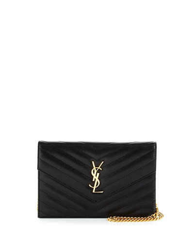 Monogram YSL Chevron Quilted Wallet on Chain, Black