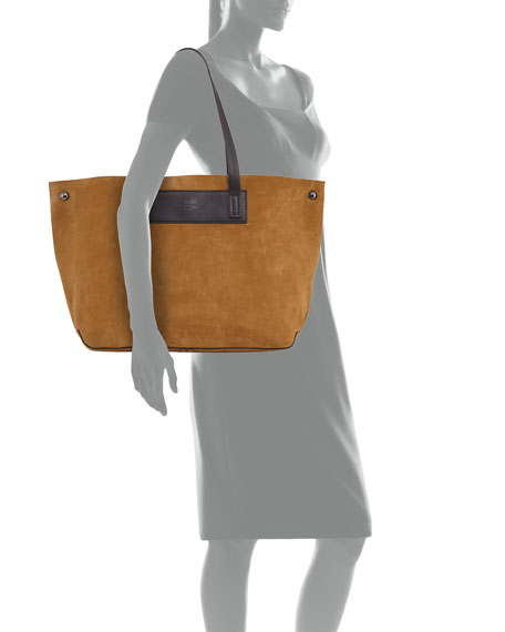 Compass Suede Everyday Tote Bag, Beige