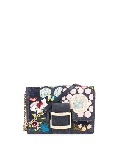 d058978d41 Roger Vivier Viv Micro Floral Denim Chain Shoulder Bag