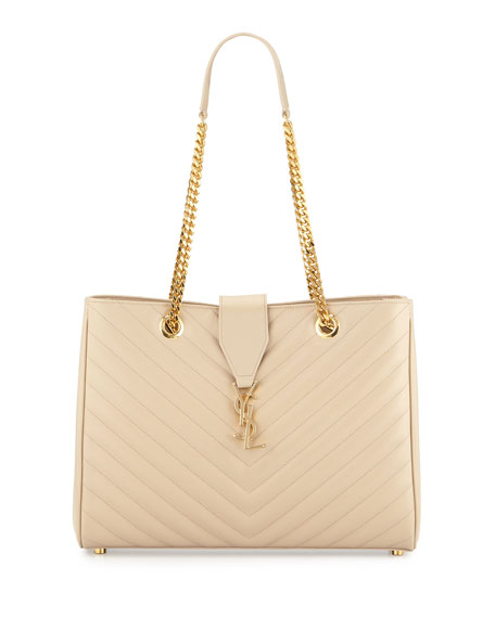 Saint Laurent Monogram Matelasse Large Shopper Bag, Beige