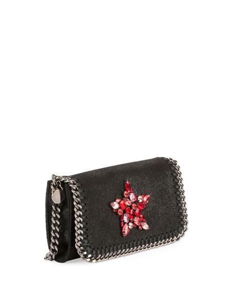 Falabella Crystal-Star Crossbody Clutch Bag, Black