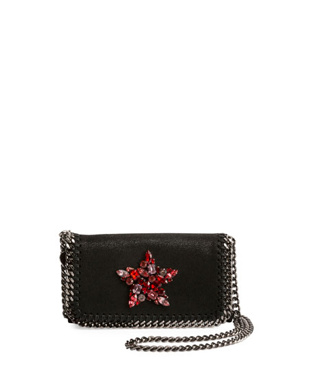 Stella McCartney Falabella Crystal-Star Crossbody Clutch Bag,