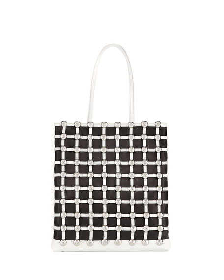 Dome-Stud Caged Shopper Tote Bag, Black/White