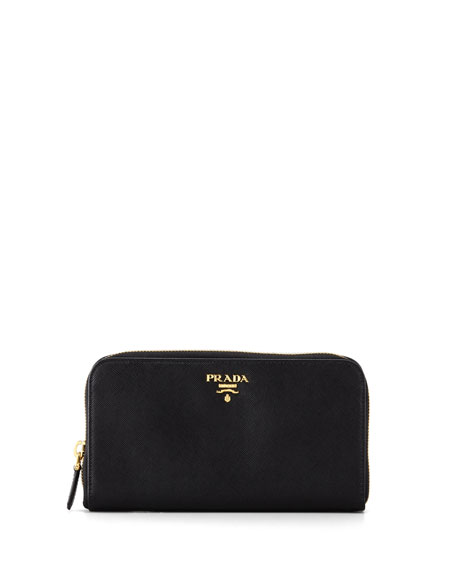 Prada Saffiano Zip-Around Wallet, Black (Nero)