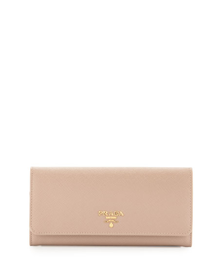 Prada Textured Leather Continental Wallet, Red/Pink