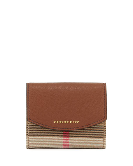 Luna Small Leather & Check Folded Wallet, Tan