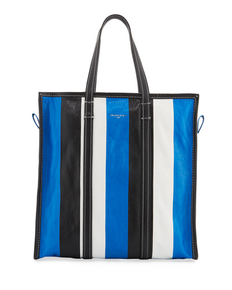 Balenciaga Bazar Medium Striped Leather Shopper Tote Bag,