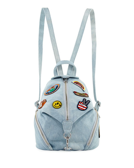 Julian Medium Patches Backpack, Light Blue