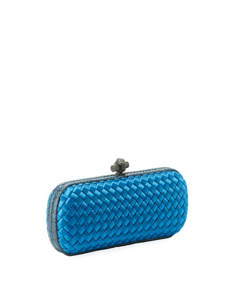 Knot Satin Elongated Minaudiere Clutch Bag