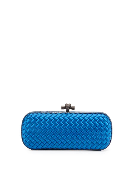 Bottega Veneta Knot Satin Elongated Minaudiere, Bluette