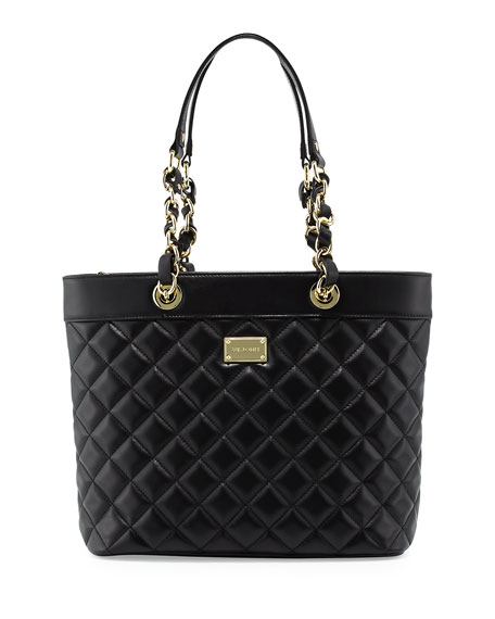 Quilted Leather Tote Bag, Black/Gold