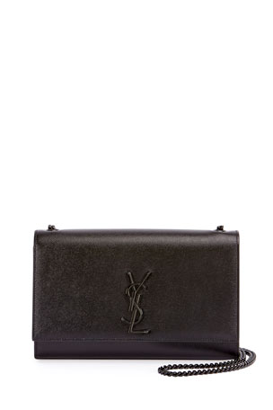 Saint Laurent Kate Medium Grain de Poudre Chain Bag, Black Hardware