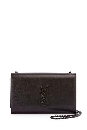Saint Laurent Kate Medium Grain de Poudre Chain Bag, Black Hardware