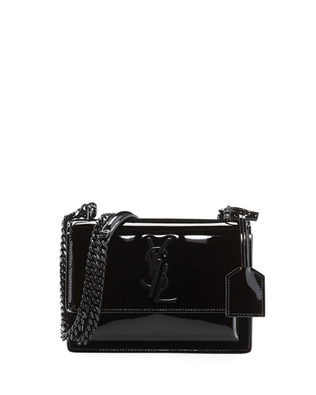 Saint Laurent Sunset Small Patent Chain Shoulder Bag, Black