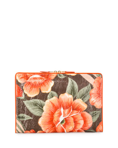 Balenciaga Blanket Floral-Print Textured-Leather Pouch, Orange