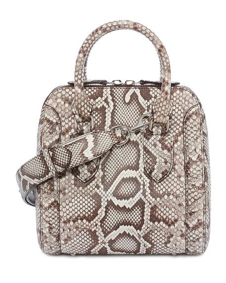 Alexander McQueen Heroine Small Python Satchel Bag, White