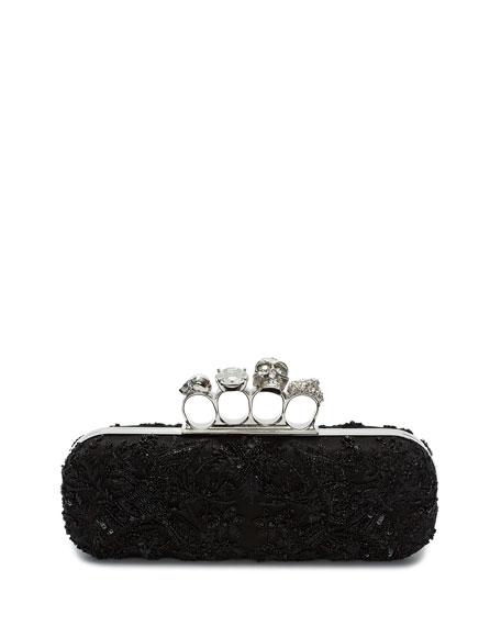 Knuckle Beaded Box Clutch Bag, Black