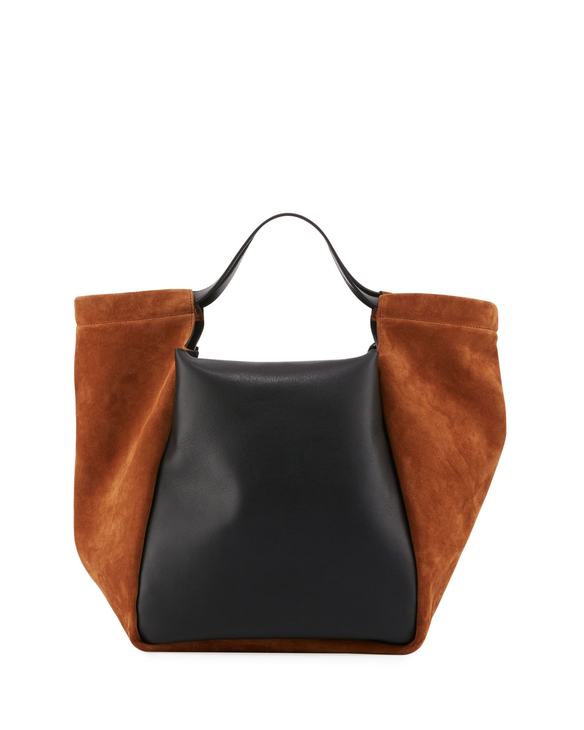 Real Smooth Leather Suede Tote Bag Brown Black