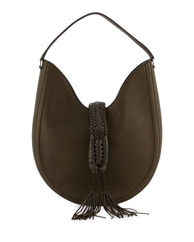 Ghianda Large Woven Leather Shoulder Bag
