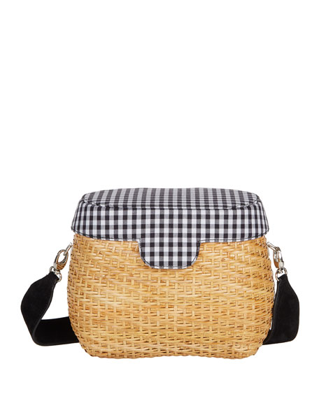Edie Parker Jane Gingham Straw Basket Crossbody Bag,