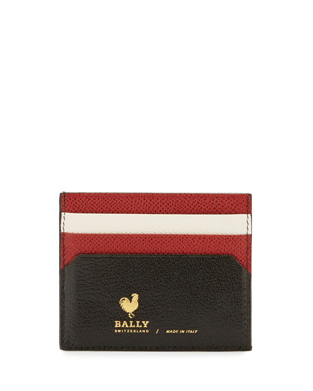 Bally Nalbyn Colorblock Leather Card Case, Black