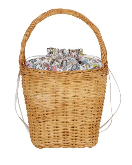 Edie Parker Lily Drawstring Wicker Basket Bag, Multi