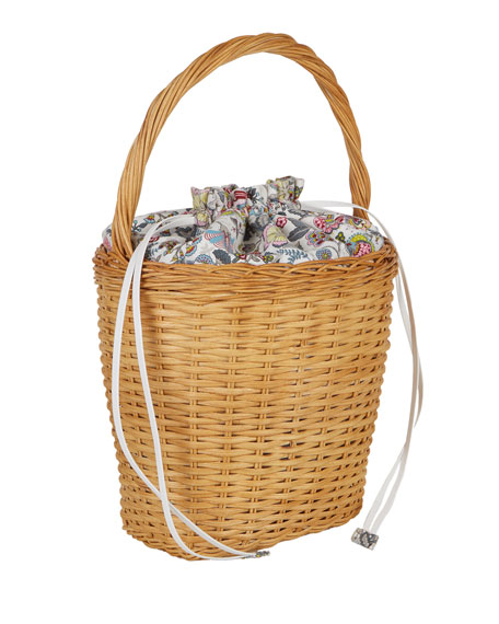 Lily Drawstring Wicker Basket Bag, Multi