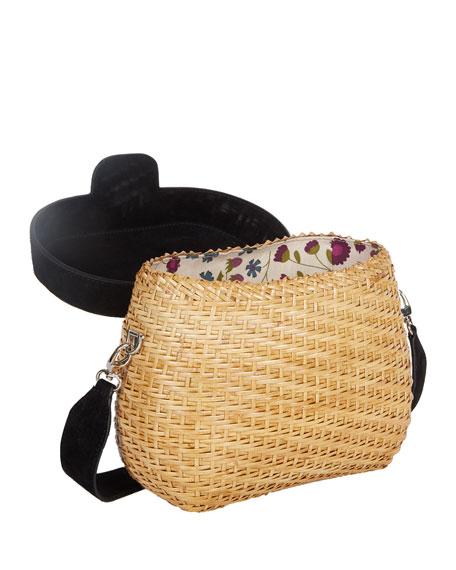 Jane Suede & Straw Basket Crossbody Bag, Black