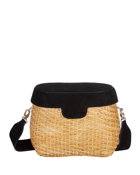 Edie Parker Jane Suede & Straw Basket Crossbody