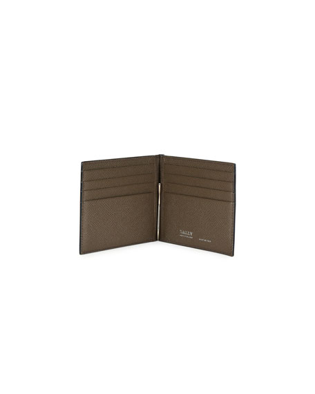Men's Leather Wallet with Money Clip, Black