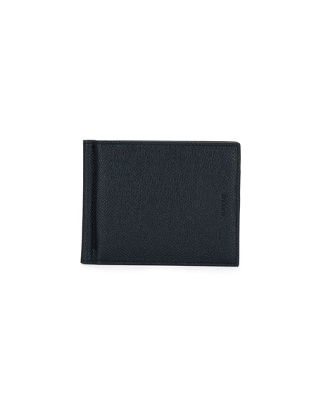 Bally Men's Leather Wallet with Money Clip, Black