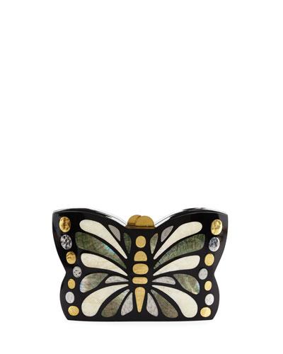 Mariposa Butterfly Minaudiere Clutch Bag, Black