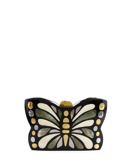 Mariposa Butterfly Minaudiere Clutch Bag, Black