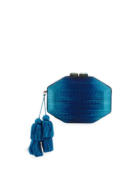 Sofia Straw Minaudiere, Navy/Turquoise