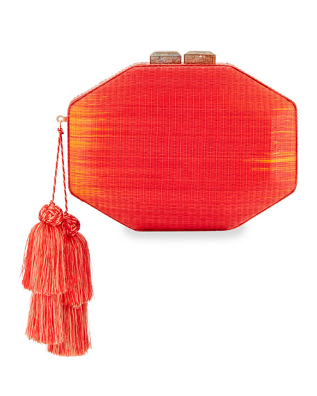 Sofia Straw Minaudiere, Red/Orange