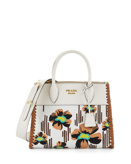 Prada Small Floral-Printed Madras Paradigm Whipstitch Tote Bag,