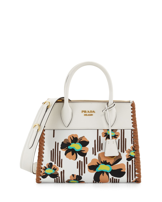 ff3ad431462c39 Prada Small Floral-Printed Madras Paradigm Whipstitch Tote Bag, White/Brown  (Bianco