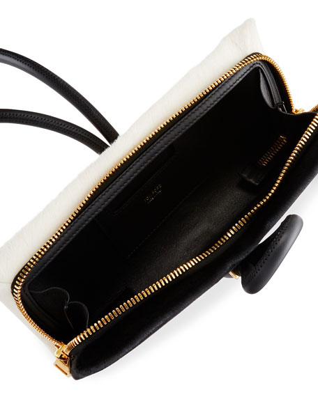 Tubo Zip Calf Hair Wristlet Bag