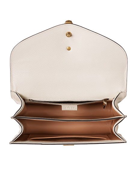 Broche Leather & Snakeskin Shoulder Bag, White/Red