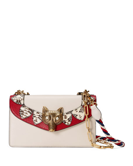 Gucci Broche Leather & Snakeskin Shoulder Bag, White/Red