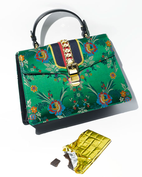 Sylvie Floral Jacquard Top-Handle Bag, Green/Multi
