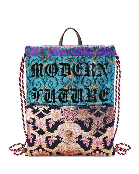 Gucci Modern Future Brocade Drawstring Backpack, Black/Blue