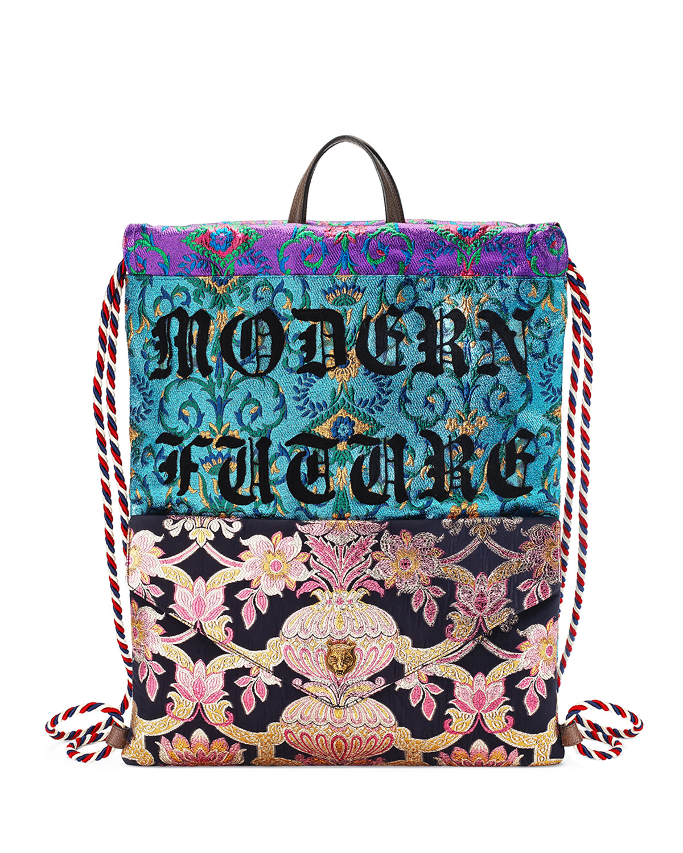 6bcfbf389fc5 Gucci Modern Future Brocade Drawstring Backpack