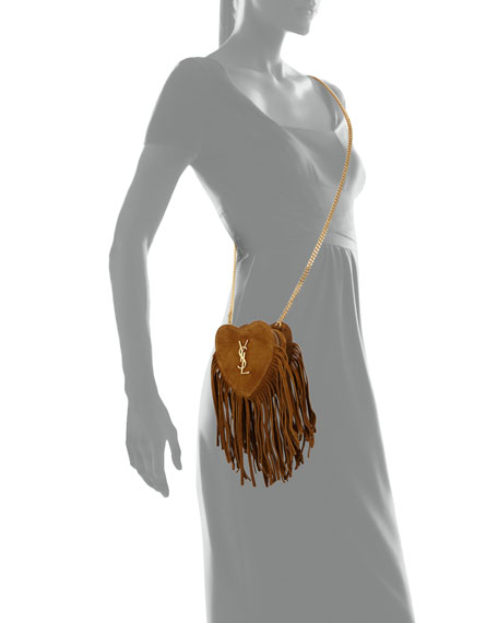Monogram Small Zip-Top Fringe Heart Bag