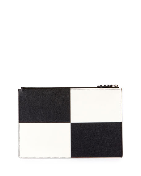 Check Medium Leather Pouch, Black/White